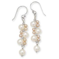 "Cultured Freshwater Pearls and Sterling Earrings - 2"" long"