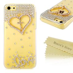 Mavis's Diary Luxury 3D Handmade Crystal Heart Rhinestone Bling Clear Case Cover for Iphone 5C with Soft Clean Cloth (Heart with Cross)