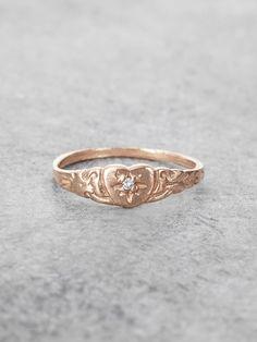 Petite Heart Diamond Pinkie Ring