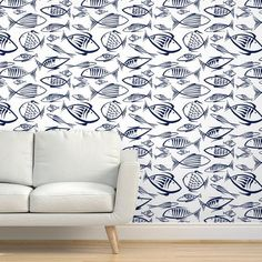 Fish Wallpaper - Between The Fishes By Chicca Besso - Fish Blue White Custom Printed Removable Self Adhesive Wallpaper Roll by Spoonflower Fish Wallpaper, Peel And Stick Wallpaper, Drawer And Shelf Liners, Life Aquatic, Lake Cottage, Diy Hanging, Self Adhesive Wallpaper, Custom Wall, Paint Cans