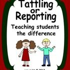 Help your students understand the difference between tattling and reporting with this lesson that includes 20 situation cards.  $3.00