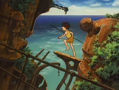 So, I just finished watching Hayao Miyazaki's 1978 TV series The Future Boy Conan and I'm absolutely stunned by the quality exhibited in t. Hayao Miyazaki, Jungle Scene, Anime News Network, Future Boy, Old Anime, Kid Character, The Last Airbender, Studio Ghibli, Conan