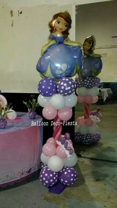 Sofia the first #balloon #decoration Balloon Tower, Balloon Stands, Love Balloon, Balloon Columns, Sofia The First Birthday Party, Pink And Gold Birthday Party, First Birthday Themes, First Birthdays, Balloon Arrangements