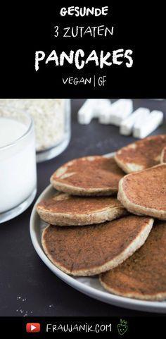 Gesunde Pancakes ohne Zucker - 3 Zutaten & 1 Mixer! Haferflocken, Banane & Milch nach Wahl.. Vegan & Glutenfrei! #pancakes #pfannkuchen #gesundbacken #zuckerfrei #ohnezucker #3zutatenpancakes #gesundbacken #gesundepancakes #glutenfrei #fraujanik