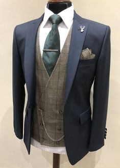 Wedding Suit Navy suit/Brown tweed waistcoat - Men's wedding suits for hire in the Manchester Wedding Suit Hire, Tweed Wedding Suits, Best Wedding Suits, Tweed Suits, Wedding Men, Navy Suits, Wedding Ideas, Groomsmen Suits, Groom Attire
