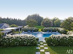 Pool in a home in Southampton, NY designed by by Juan Montoya Design