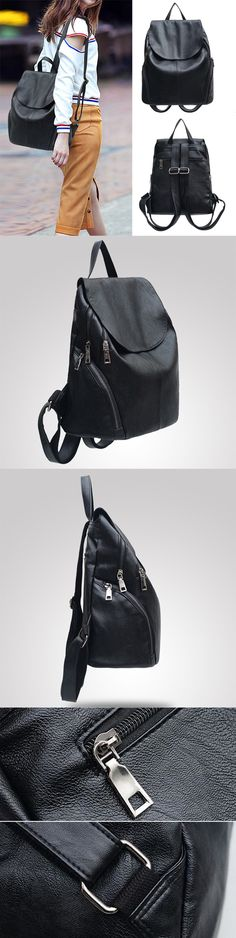 [$ 15.91]  Women Black Soft Leather Solid Flap Zipper and Hasp Bag Travel Backpack