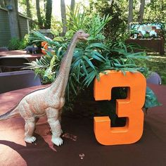 Centerpiece at a dinosaur birthday party! See more party ideas at CatchMyParty.com!