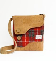 Cork and Red Harris Tweed Messenger Bag Shoulder by MyCottonHouse