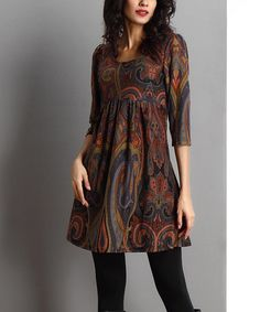 Another great find on #zulily! Brown Paisley Empire-Waist Tunic by Reborn Collection #zulilyfinds