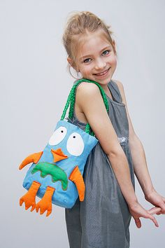 Cotton bag for kids with CHICKEN/OWL applique by bboutiquebeauties, $20.00