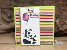 Bags That One!: Stampin' Up! Sale-A-Bration Party Pandas rubber stamps of cuteness! Kids Birthday Cards, Handmade Birthday Cards, Kids Cards, Baby Cards, Panda Party, Stamping Up Cards, Animal Cards, Card Maker, Cool Cards