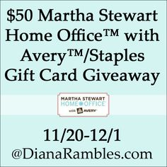 $50 Martha Stewart Home Office� with Avery�/Staples Gift Card Review & Giveaway