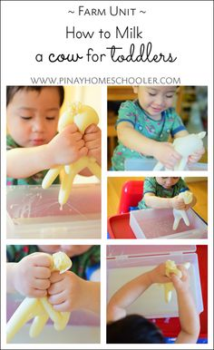 Teaching kids how to milk a cow- Montessori toddler activity Farm Animal Crafts, Farm Crafts, Daycare Crafts, Farm Animals Preschool, Farm Activities, Animal Activities, Infant Activities, Toddler Teacher, Toddler Classroom