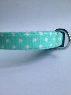 Minty Polka Dot Dog Collar Handmade by UptownPetwear on Etsy