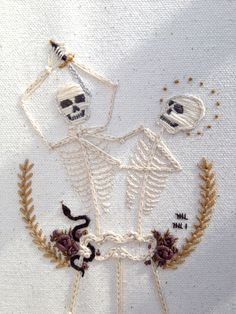 Awesome embroidered skeletons that are forever trapped via their hip. I really love the detail and character put into the embroidery, I could feature embroidery on my prop if I chose a furnishing.