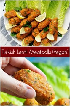 These vegan lentil meatballs are a Turkish classic. Made with red lentils and bulgur, these meatballs are usually served with lettuce and herbs.#lentilrecipes #veganmeatballs #vegetarianmeatballs