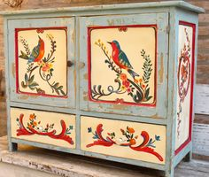 Funky Painted Furniture, Bohemian Furniture, Decoupage Furniture, Paint Furniture, Upcycled Furniture, Bohemian Decor, Vintage Furniture, Furniture Decor, Russian Folk Art