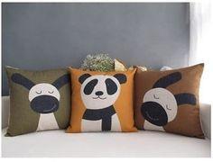 Cute Cartoon Dog Panda Linen Decor Throw Pillow Case Cushion Cover Square 18    eBay