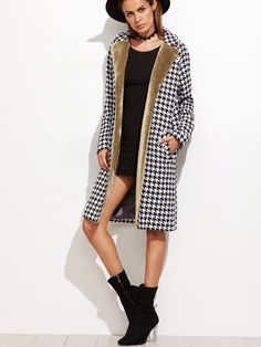 Black+And+White+Faux+Fur+Trim+Houndstooth+Coat+39.00