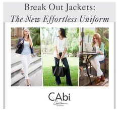 Break out jackets - the new go to layer piece! Get yours from CAbi!