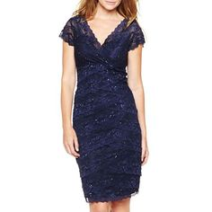 Yo, sis, what are you wearing to the wedding on Saturday. Can I wear something like this?  Shutter-Pleat Dress with Lace Details - jcpenney