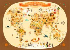 Affiche carte du monde pour enfant en vente sur LAfficheModerne.com
