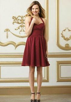 A line Chiffon With Ruching Halter Short Bridesmaid Dress - Angeldress.co.uk