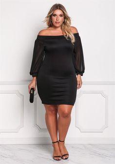 Plus Size Clothing | Plus Size Off Shoulder Chiffon Sleeve Bodycon Dress | Debshops #curvywomenfashion