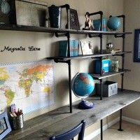 Industrial Shelving and Desk in a Little Boys Room