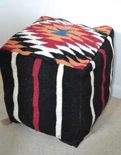 """Bean bag Cover Wool Kilim Pouffe 40cm 16"""" Cube – DesignsEmporium"""