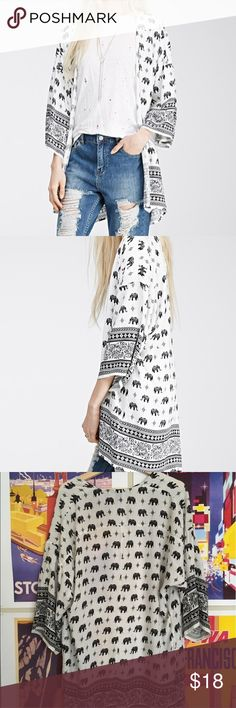 Forever 21 Elephant Kimono 🐘 Very slightly off white with black print. Super cute re-Posh. Forever 21 Tops
