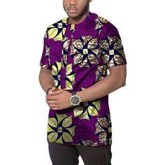 Alion Mens African Print Shirt Long Sleeve Stand Collar Slim Fit Dashiki Tops