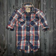 Mens Hollister Plaid Shirts by aimee Casual Shirts, Casual Outfits, Men Casual, Fashion Outfits, Plaid Shirts, Men Shirts, Looks Style, My Style, Country Style