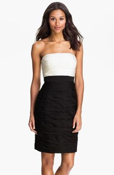 ML Monique Lhuillier Bridesmaids Strapless Two Tone Sheath Dress (Nordstrom Exclusive) | Nordstrom