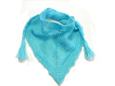 Turquoise toddler bandanahandknit triangle baby by TinyOrchids, $25.00