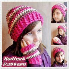 Crochet pattern slouchy hat pattern scarf by NedinetPattern
