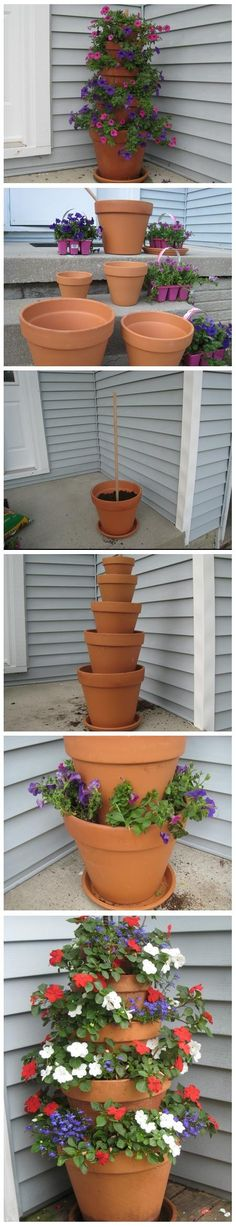 Terra Cotta Pot Flower Tower with Annuals :: I would jazz up the pots as well.
