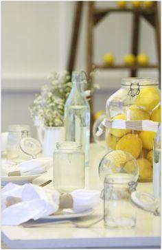 lemon yellow & white table settings vintage glass and farmhouse flavor Rustic Wedding Centerpieces, Wedding Table, Party Wedding, Wedding Ideas, Chic Wedding, Wedding Inspiration, White Table Settings, The Way Home, Yellow Wedding