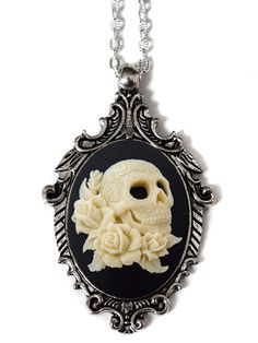"""Day of the Dead Gothic Skull"" Cameo Necklace by Couture By Lolita (Black) #InkedShop #cameo #skull #Necklace #jewelry"