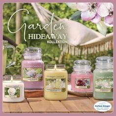 Die Garden Hideaway Kollektion wurde von der Verjüngungskraft der Natur inspiriert. Diesen Frühling geht es auf unserer Duftreise in einen geheimen Garten, einen ruhigen Rückzugsort, welcher aus reichhaltigen blumigen Düften und Zitrusnoten kreiert wurde. Ein Ort, wo Familie und Freunde zusammenkommen und entspannen können.  #yankeecandle #kerzenwelt #gardenhideaway #sunnydaydream #camelliablossom #homemadeherblemonade #watergarden #geschenktipp  #shopping #josalzburg Yankee Candle, Mason Jars, Candles, Incense, Friends, Nature, Lawn And Garden, Mason Jar, Candy
