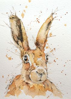 Hare original ink and watercolour by DottyDogArt on Etsy https://www.etsy.com/listing/221829597/hare-original-ink-and-watercolour