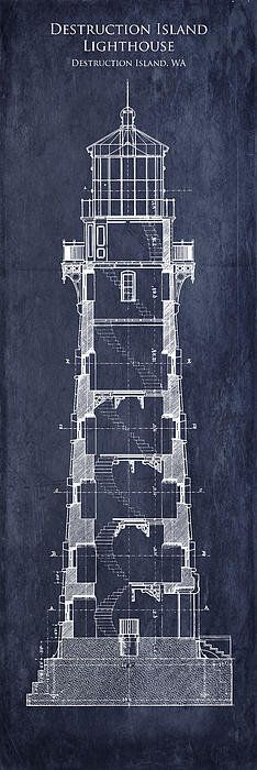 Destruction Island Lighthouse Interior Section Blueprint Poster By Sara Harris