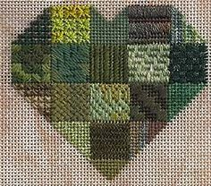 stitches for needlepoint patchwork heart sampler, designed by Janet Perry Bargello Needlepoint, Needlepoint Stitches, Needlepoint Canvases, Needlework, Embroidery Sampler, Embroidery Patterns, Hand Embroidery, Patchwork Heart, Needlepoint Patterns