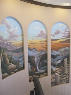 Staircase Niches, Nature Mural.     www.dwcustommurals.com, Dream Walls Murals and faux Finish. By Artist Alfredo Montenegro