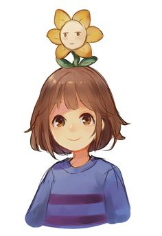 I bet flowey's wondering how he's implanted on Frisk's head, his face explains it. But srsly, is flowey inside Frisk's freaking brain??