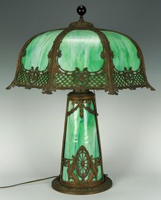 Slag glass table lamp, early 20th century.