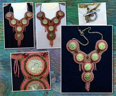 Green Magnesite Bead Embroidered Necklace  EBEG by PiccalilliWorx, $575.00