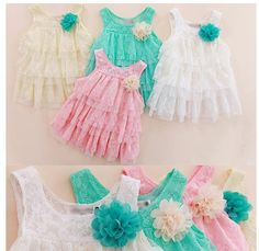 2013 infant baby girls lace dresses children clothing for autumn -summer kids princess flower tutu dress 4colors pink cake dress $28.63