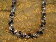 Black & White Necklace Art Deco Prong set Alternating Antique Estate VTG